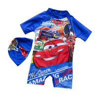GI FOREVER 2 10 Year Boy Cartoon One Pieces With Cap Children Short Sleeve Swimsuit Cool Swimwear Bathing Suit Maillot De Bai