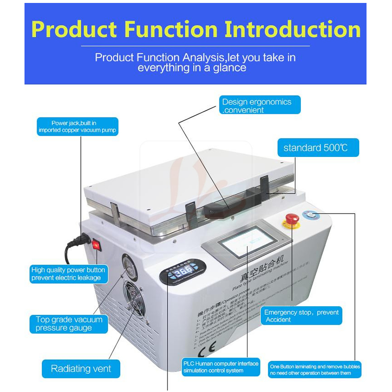NEW auto air lock LY 888A+ OCA vacuum laminator soft hard airbag type all in one touch screen laminating Max 12 inch - 6