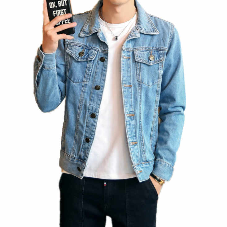 Однотонная повседневная мужская джинсовая куртка, весенне-осенняя приталенная куртка-бомбер, Мужская Высококачественная джинсовая куртка, Мужская верхняя одежда, большие размеры 4XL