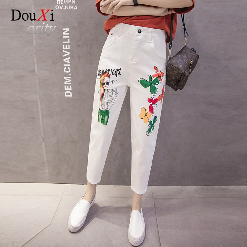 Harem Women Jeans Pants Mid-waist Loose Casual Ripped Plus Size 3XL White Boyfriend Print Denim Female Trousers Ankle-length free shipping fashion women jeans loose ankle length ripped hole harem denim pants korean style casual mid waist femme trousers