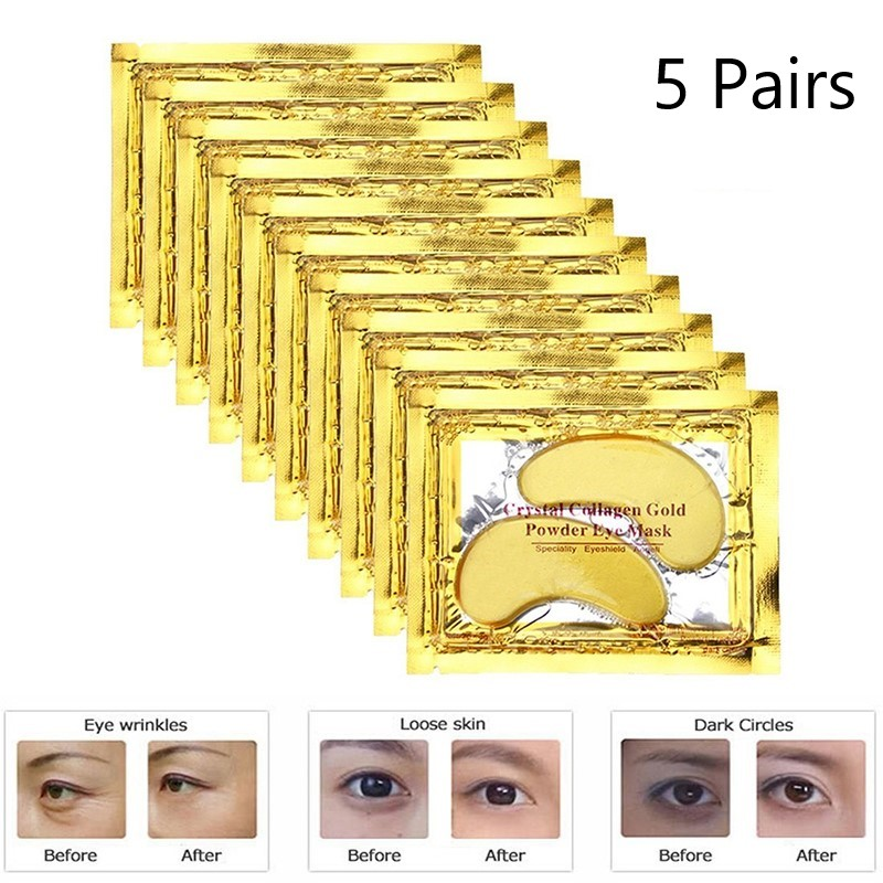 10Pcs=5Packs 24k Gold Crystal Collagen Eye Mask Anti Aging/Dark Circles/Puffiness Moisturizing Eye Masks Colageno Gel Eye Pads(China)