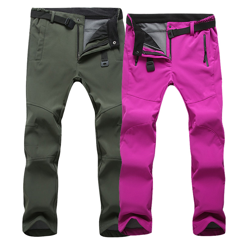 Elásticos ocasionales de los hombres SoftShell pantalones impermeables mujeres hombres invierno cálido a prueba de viento para hombre Pantalones deportivos polar trabajo 3XL