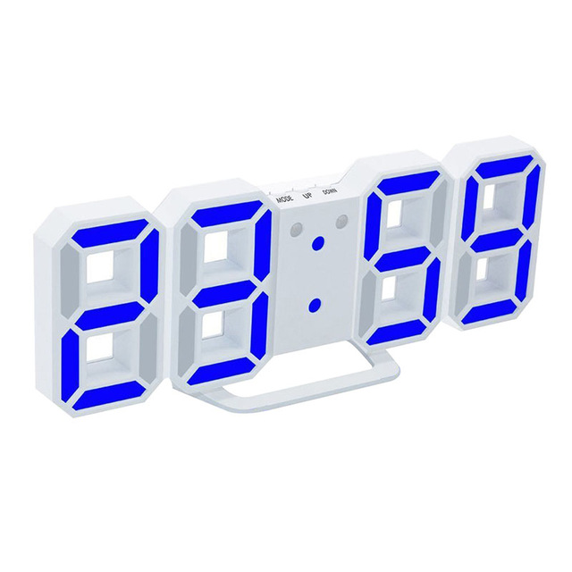 3D LED Digital Wall Clocks 24 / 12 Hours Display 3 Brightness Levels Dimmable Nightlight Snooze Function For Home Kitchen Offic