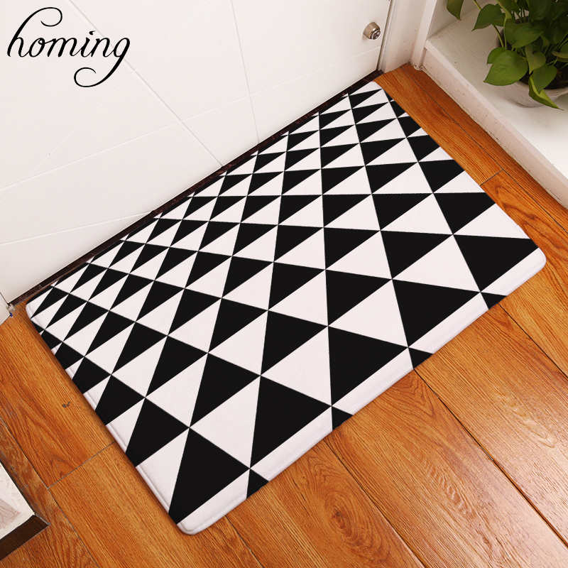 Homing Decoration Stair Carpets Black White Misread Triangle Geometric Puzzle Mats Light ...