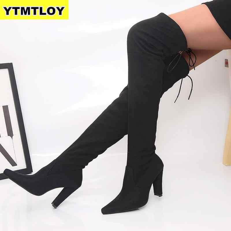 ขนาด 35-43 รองเท้าใหม่รองเท้าผู้หญิงสีดำเข่าเซ็กซี่หญิงฤดูใบไม้ร่วงฤดูหนาว Lady ต้นขาต้นขาสูงสูงรองเท้าบู๊ตสีแดง