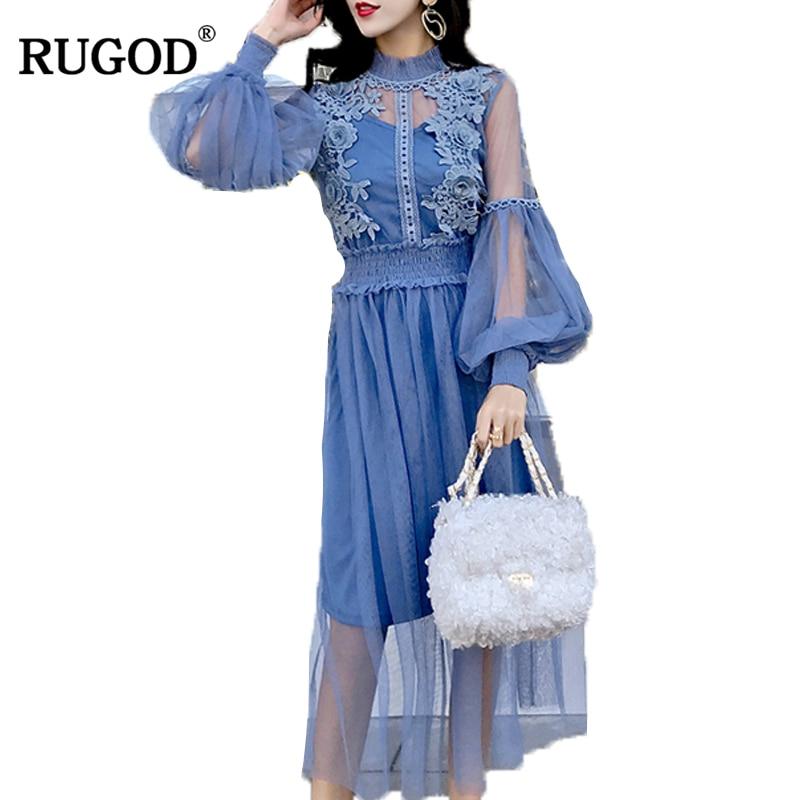 RUGOD 2018 New Spring Summer Lace Voile Patchwork Boho Dress Women Elegant Slim Lantern Sleeve Mesh Party Dresses Vestidos Robe