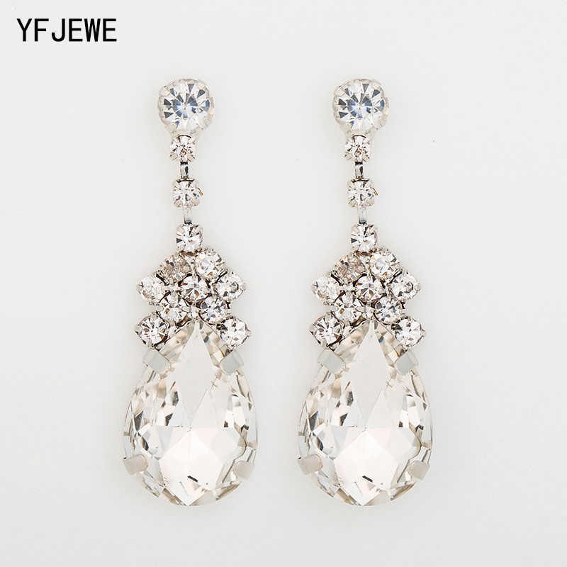 YFJEWE Cubic Zirconia Drop Earrings With Tiny CZ Luxury Bridal Wedding Earrings For Women Rhodium Plated Wholesale E038