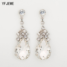 YFJEWE Cubic Zirconia Drop Earrings with Tiny CZ Luxury Bridal Wedding Earrings for Women Rhodium Plated Wholesale women big drop earrings rhodium plated with cz stone romantic style fashion jewelry high quality free shipment