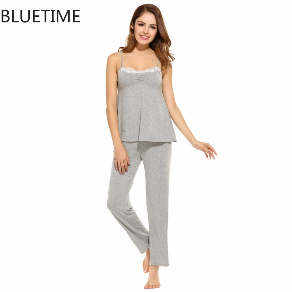 Pyjamas Women Sleepwear Lace <font><b>Tank</b></font> <font><b>Cami</b></font> Top & Lounge Pants Pajamas Set Underwear Summer Soft Sleep Wear Pijamas Mujer 230A