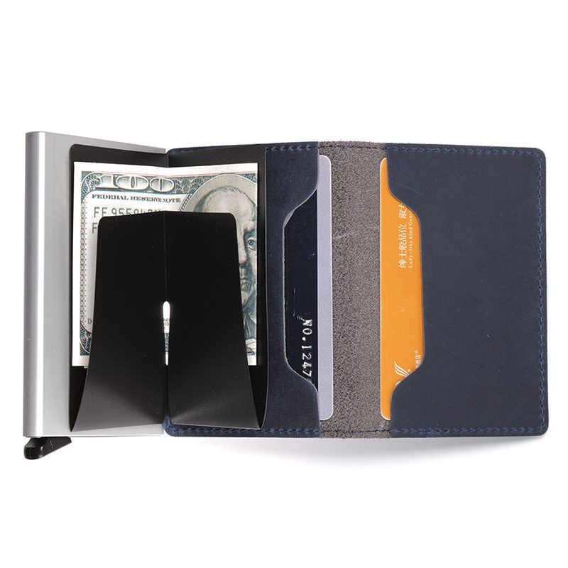 Tarjeteros Rfid 2019 de cuero auténtico, estuche metálico para hombres y mujeres, estuche para tarjetas de identificación, billetera para tarjetas de crédito