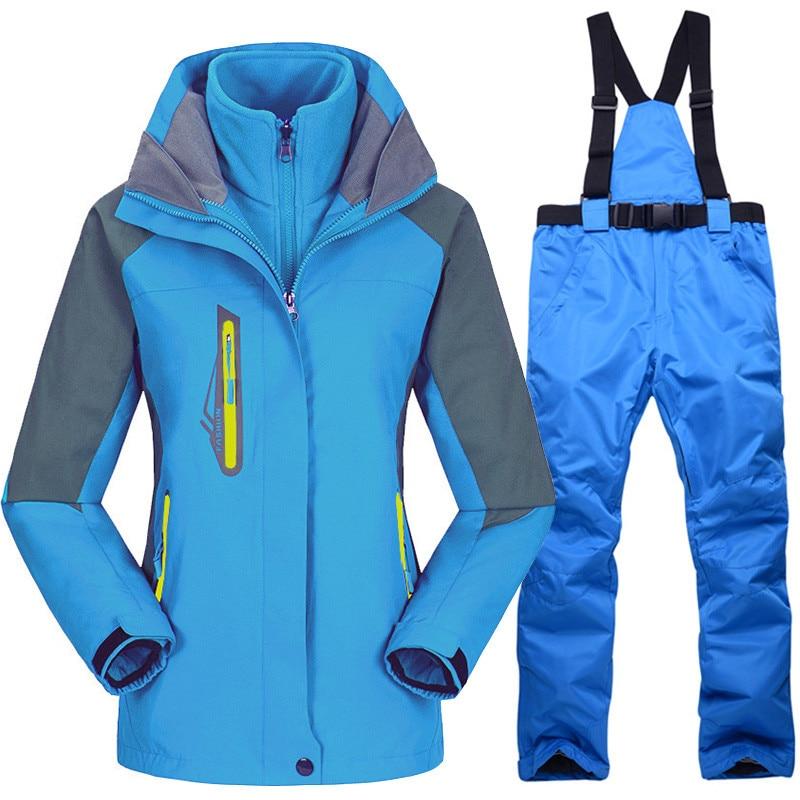 Femmes Ski costumes hiver épaississement chaud imperméable coupe-vent respirant Snowboard neige vestes et pantalons costume extérieur femme