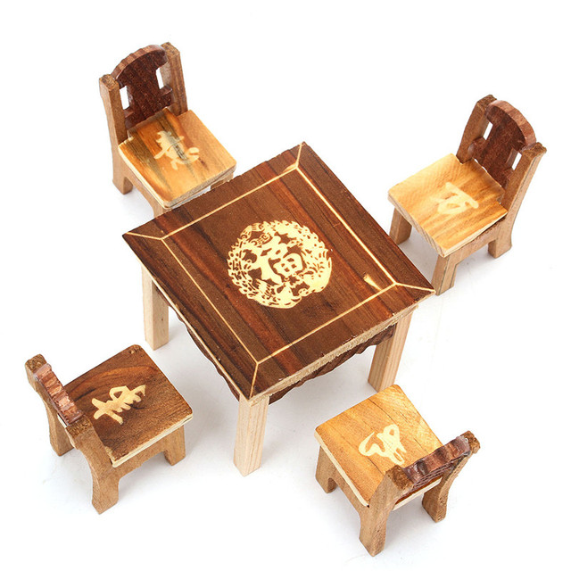5pcs/set Vintage Wooden Table Chair Set For Dolls House Furniture Miniature  Room Set Kids