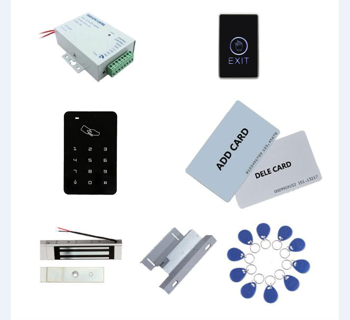 standalone access control kit, power+180kg magnetic lock+180kg ZL-bracket+exit button+2 manage card,10 keyfob ID tags,sn:set-5standalone access control kit, power+180kg magnetic lock+180kg ZL-bracket+exit button+2 manage card,10 keyfob ID tags,sn:set-5