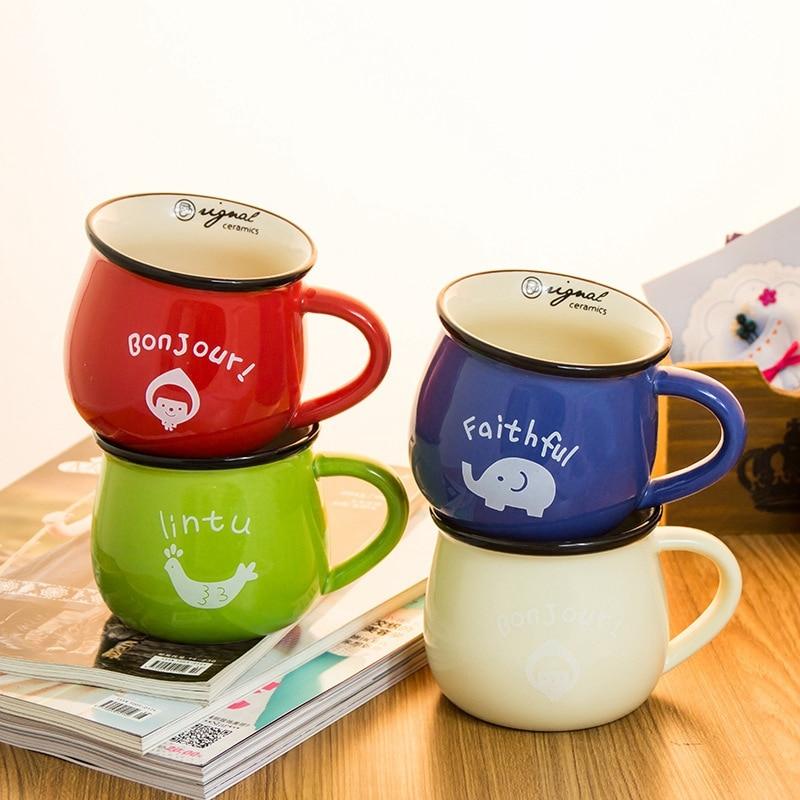 Colorful Letter Pattern Animal Coffee Mug Ceramic Simple Milk Porcelain Tea <font><b>Cup</b></font> Elephant <font><b>Faithful</b></font> Breakfast Coffee Mugs Taza