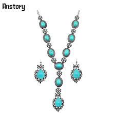 Vintage Look Antique Silver Plated Necklace Clip On Earring Drop Flower Pendant Rhinestone Turquoise Jewelry Sets TS231