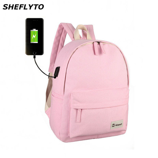 c8648d781f Brand Designer Casual USB Charging Backpacks Women Canvas Backpack Students  School Bags for Teenagers Girls Rucksack