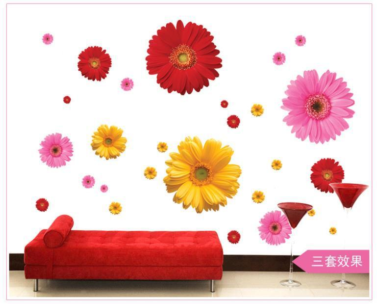 Hot Sale New Adesivo De Parede 3d Flowers Wall Stickers Room Decor Bedroom Living Window Tag Wallpaper Kitchen Door Home