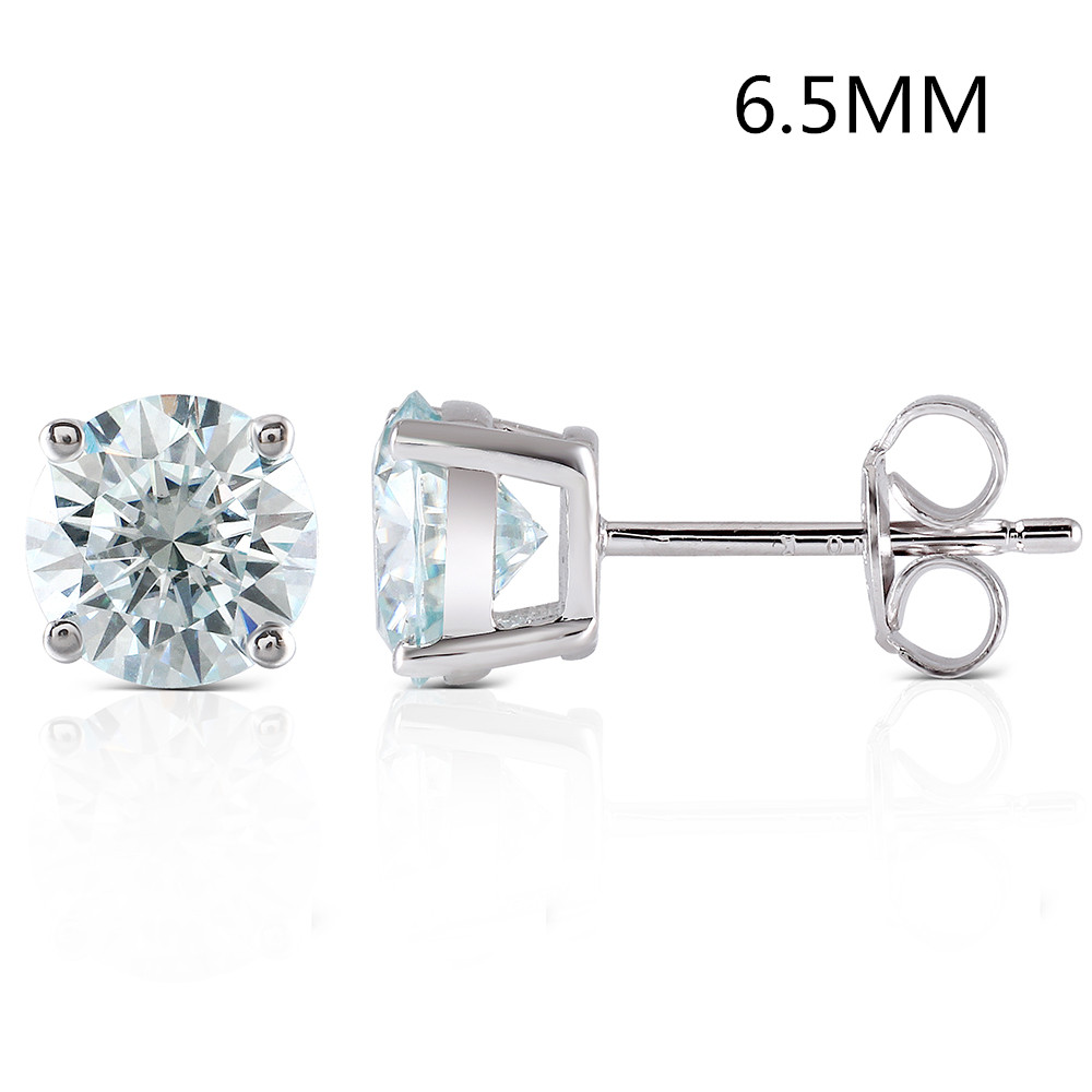 Transgems 2CTW 6 5MM Slight Blue lab grown moissanie diamond Stud Earrings Platinum Plated sterling silver