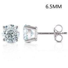 Transgems 2CTW 6.5MM Slight Blue lab grown moissanie diamond Stud Earrings Platinum Plated sterling silver Push Back for Women