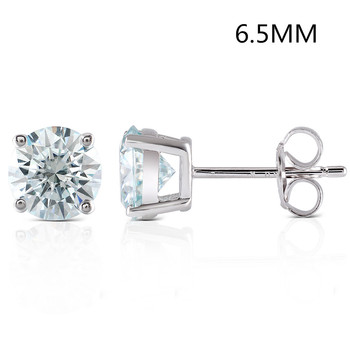 Transgems 2CTW 6.5MM Slight Blue lab grown moissanie diamond Stud Earrings Sterling silver Push Back for Women