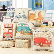 "Home Decorative 18"" Cushion Cover Throw Pillow Case Vintage Decorbox Cotton Linen Square Cute Cartoon TK818"
