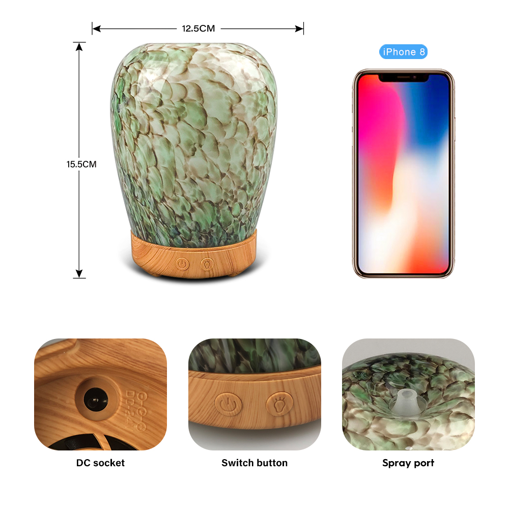 3D Glass Marble Texture Ultrasonic Air Humidifier Aroma Essential Oil Diffuser 7 Color Changing LED Lights Quiet For Office Home