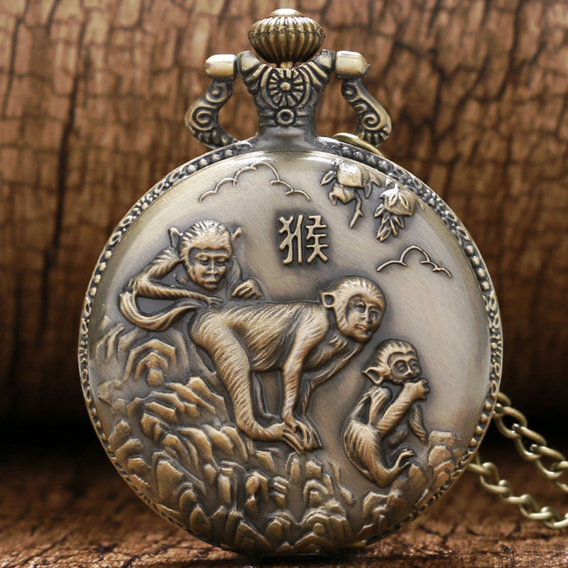 2020 Fashion Monkey Pattern Antique Bronze Design Pocket Watch Vintage Fob Watches For Men Women With Chan Best Gift