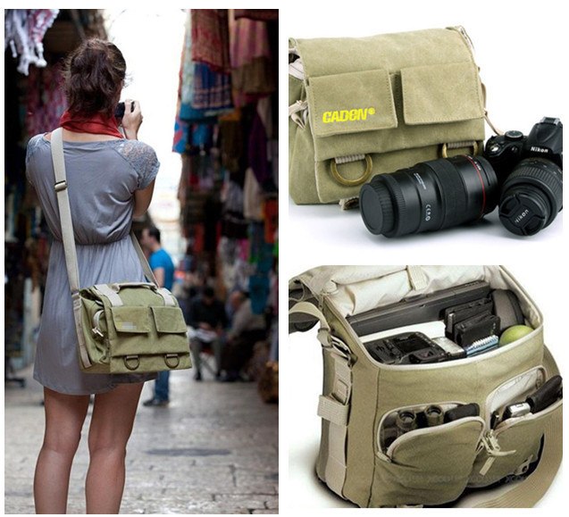 Canvas Waterproof Slr Dslr Camera Case Lens Insert Pouch Shoulder Sling Bag Messenger Gadget For