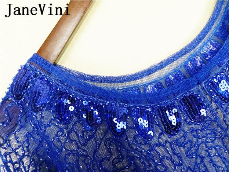Image 5 - JaneVini Royal Blue Women Wraps with Beading Sequins Luxury Summer Wedding Bridal Capes Evening Prom Dress Jacket Stoles Boleros-in Wedding Jackets / Wrap from Weddings & Events