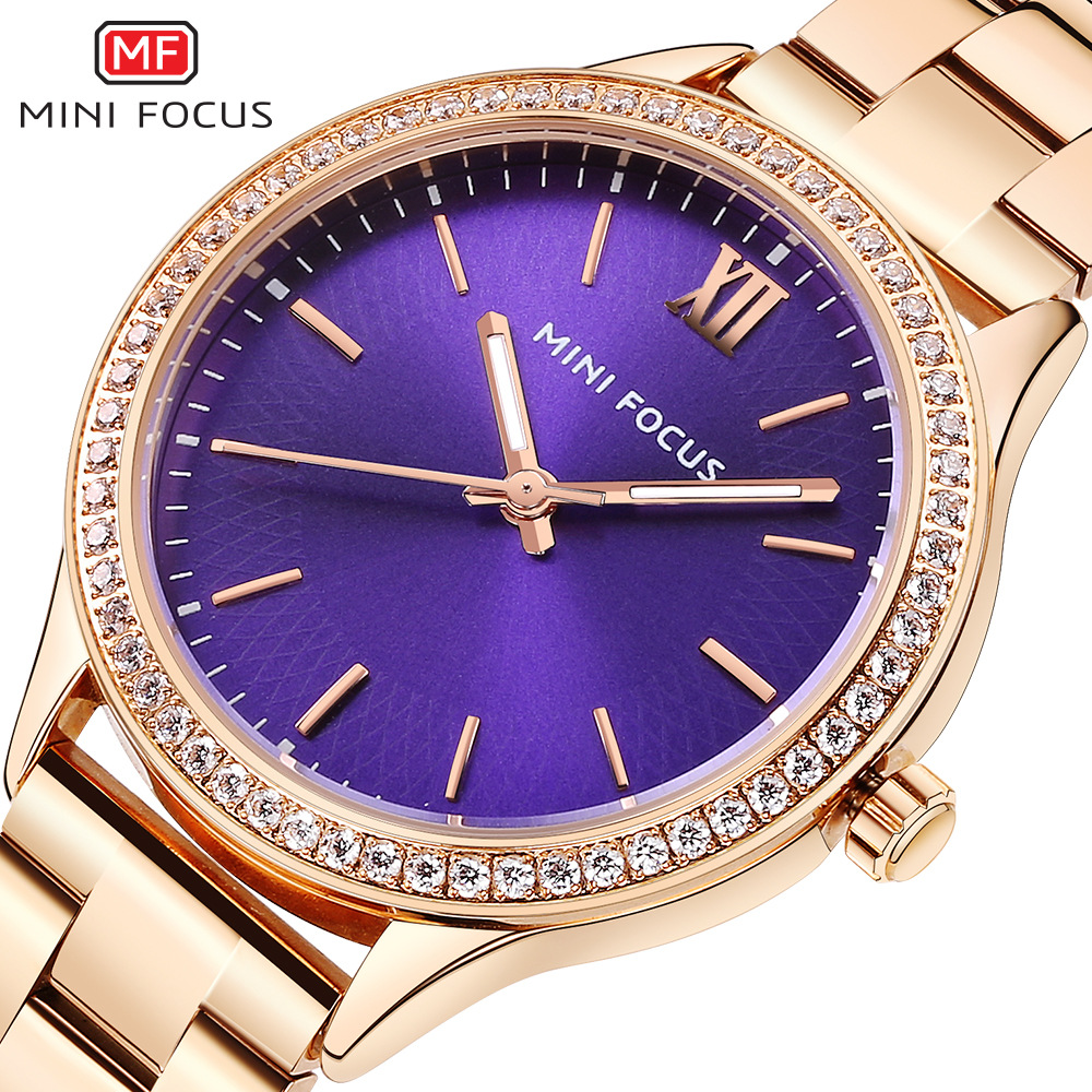 luxury womens stainless steel quartz wristwatches blue gold black waterproof diamond woman watches MINI FOCUS brand ladies clock карабин black diamond black diamond rocklock twistlock