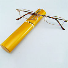 Fashion metal Small Slim frame portable reading glasses men women with clear lens colorful Tube cases for watch CI0046(China)