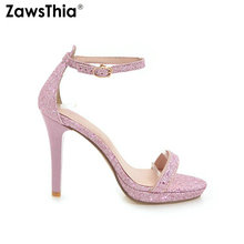 ZawsThia 2019 summer glitter bling silver gold pink ladies high heels party  wedding dress shoes sexy c3e8f2142404