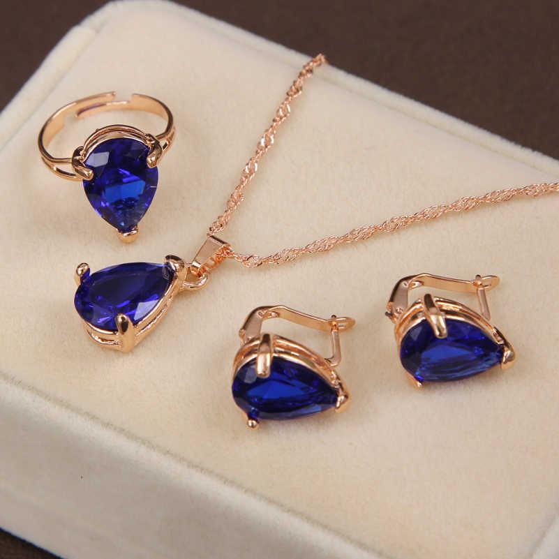Juego de joyería de color dorado de MINHIN, collar y pendiente y anillo de estilo trébol para accesorios de boda, conjunto de joyería Azul Real