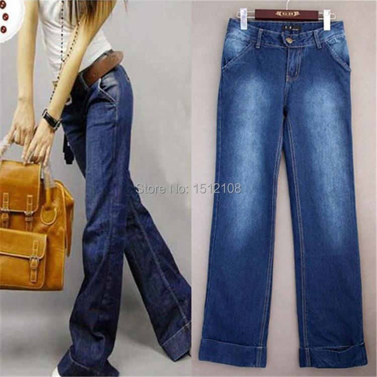 Wide leg pants women plus size wide leg jeans loose trousers denim ...
