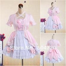 V-1246 Rosa baumwolle Süße Schule Lolita Kleid/viktorianischen kleid Cocktailkleid/halloween-kostüm US6-26 XS-6XL