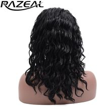 Razeal Swiss Lace Front Wig Heat Resistant Fiber Romance Deep Wave Glueless Synthetic Wigs For Black Woman High Temperature