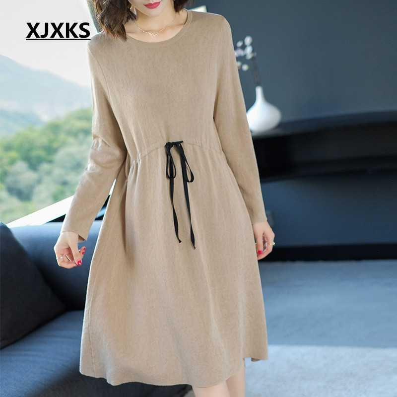 00c8d919ded XJXKS good quality 2019 new selling solid color women vintage dress with  sashes comfortable loose style