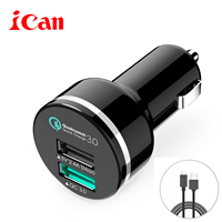 car-charger Qualcomm certificated QC3.0 car charger with 2 usb ports with 3ft micro usb cable rapid charging for iphone samsung