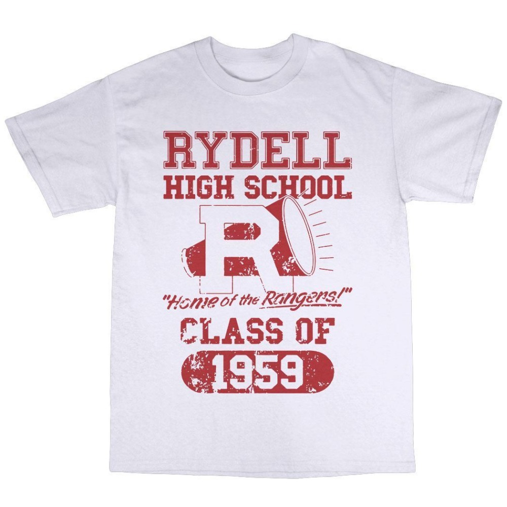 T Shirt Design Crew Neck Men Graphic Short Sleeve Rydell High School 1959 T-Shirt 100% Premium Cotton Inspired By Grease T Shirt