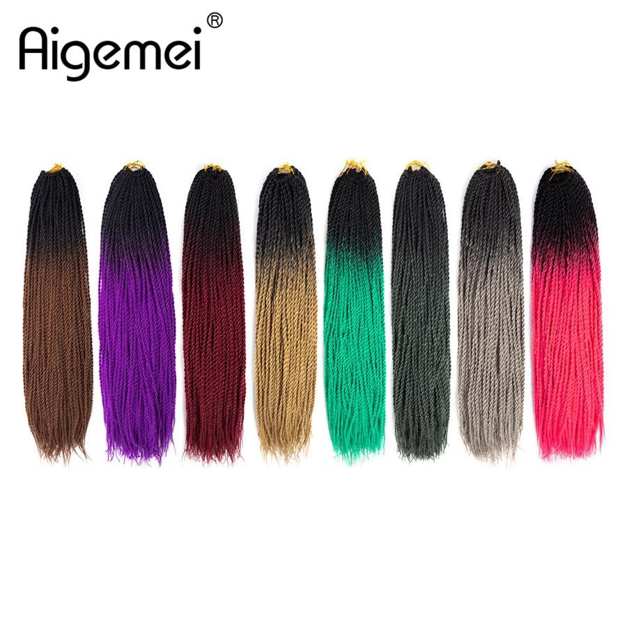 Aigemei Crochet Braids Synthetic Braiding Hair Senegalese Twist High Temperature Fiber Hair Extension 24