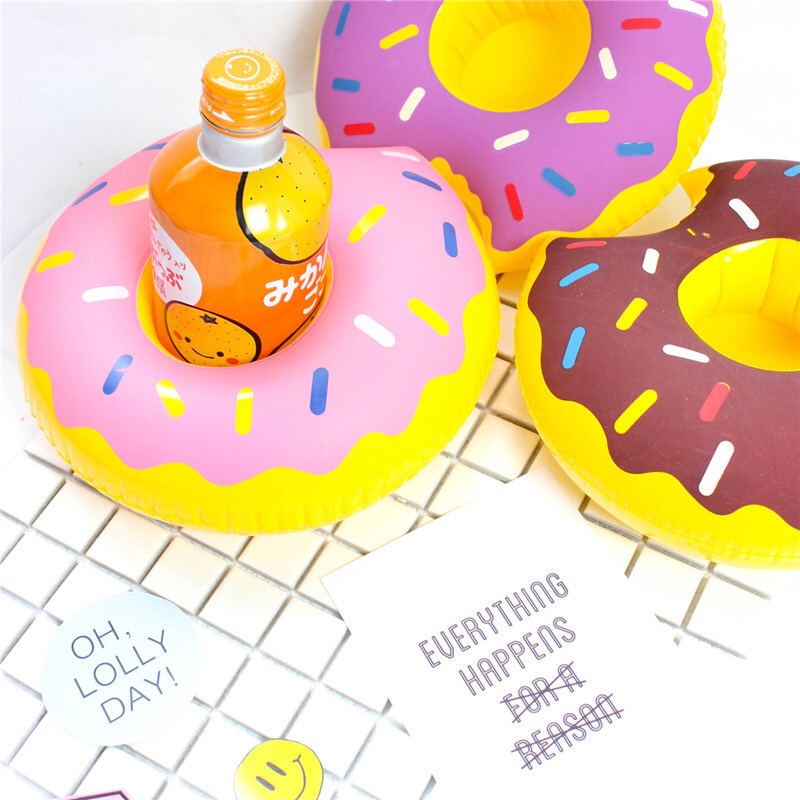 1Pc hot Mini Cute funny Donnuts Floating Inflatable Drink Can Holder Swimming Pool Accessories Beach Kids Bath Toys DS39