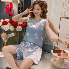 2019 Silk Sleepwear Women Print Pyjamas Satin Sleeveless Pijamas Summer O-neck Pajamas Set Homewear M L XL XXL