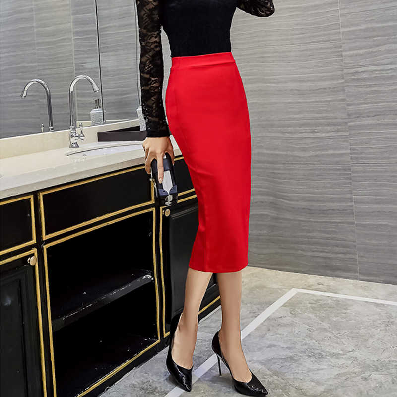 5XL черные женские облегающие офисные юбки, Женская рабочая Деловая одежда, высокая растягивающаяся облегающая юбка-карандаш до колена