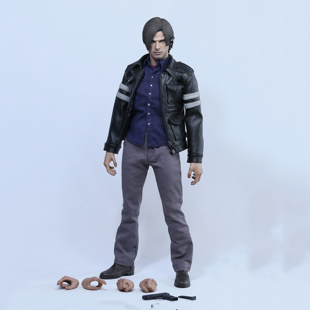 1/6 Scale Figure Movie  Resident Evil 6 Lyon Leather jacket suit set with 1:6 hands & weapon Full Set Action Figure 1 6 scale resident evil 6 leon scott kennedy full set action figure for collections
