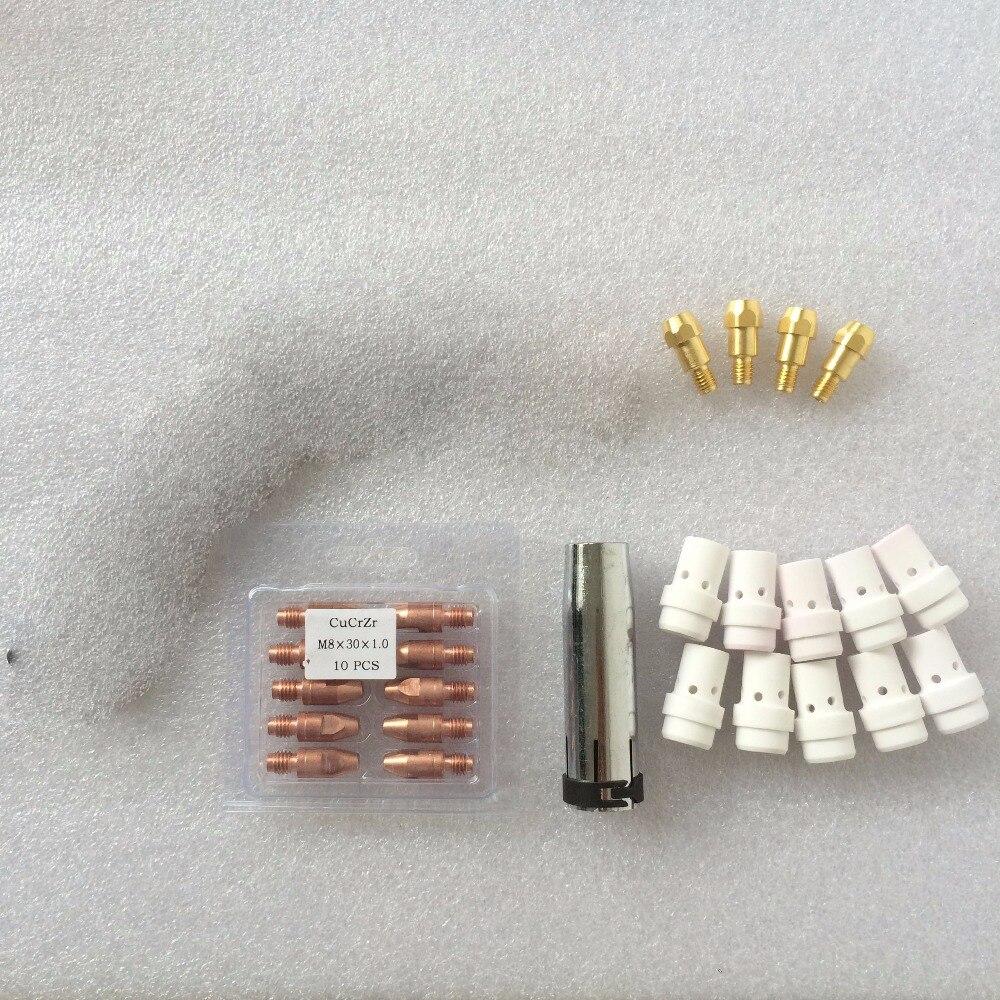 Binzel MB36 36 KD 36KD Kit Düse Kontaktieren Spitze Halter Gas Diffusor 26 stücke für Mig Mag Schweißen Fackel Verbrauchs für mig schweißer