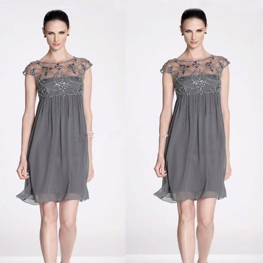 Popular Short Grey Chiffon Cocktail Dress-Buy Cheap Short Grey ...