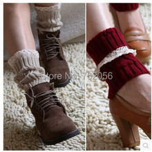 2016 Lace knitted booty Gaiters Boot Cuffs Leg Warmers Ballet Dance Boot stocking burn out Boot Covers Fashion 8 colors #3705