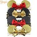 4 unids/lote Baby Girl Minnie Orejas de Oro Con 4 ''Brillo Metálico Arco, oro Metálico Leopard Diadema Minnie Mouse Diadema