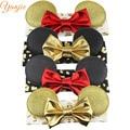 4pcs/lot Baby Girl Gold Minnie Ears With 4'' Glitter Metallic Bow, Gold Metallic Leopard Headband Minnie Mouse Hairband