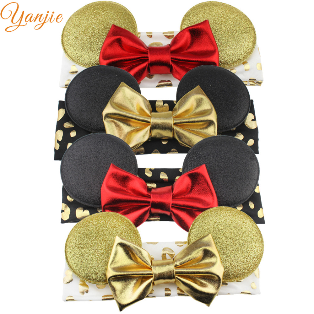 Lot Girl Gold Minnie Ears With 4'' Glitter Metallic Bow,gold